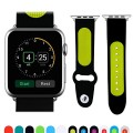 JUN-Q® Apple Watch Band, Patchwork Soft Silicone iWatch Strap Wrist Band Replacement for Apple Watch 42mm (black+green)
