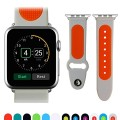 JUN-Q® Apple Watch Band, Patchwork Soft Silicone iWatch Strap Wrist Band Replacement for Apple Watch 42mm(grey+orange)