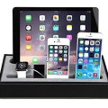 [4 in 1] Apple Watch Stand & Iphone iPad Charging Station Multiple,Iphone iPad Charging Dock,Smartphone Desk Charging Station,Konsait Black Leatherette Apple Watch Charging Stand Cradle Holder