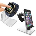 Orzly Charge Station for Apple Watch and iPhone – Aluminum – DuoStand Silver