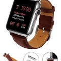 Apple Watch Band, LoHi 42mm iWatch [100% Genuine Leather] Replacement Watch Strap Wrist Band with Metal Clasp for Apple Watch & Sport & Edition (42mm-Brown)