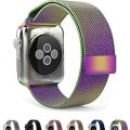 Apple Watch Band Leefrei Magnetic Closure Clasp Mesh Loop Milanese Stainless Steel Bracelet Replacement Strap for Apple Watch All Models Colorful 42 MM