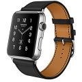 Apple Watch Band, 38mm [Luxury Series] Apple Watch Leather Band Cow Leather Strap with Secure Buckle Replacement Band for Apple Watch/Sport/Edition 38mm (Black 38mm)