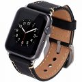 Apple Watch Band, 42mm iWatch Strap Premium Vintage Crazy Horse Genuine Leather Replacement Watchband with Stainless Metal Clasp for All Apple Watch Sport Edition (42MM black)