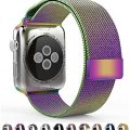 Leefrei Milanese Loop Woven Stainless Steel Mesh with Magnetic Closure Watch Band for Apple Watch Series 2 Series 1 42mm – Colorful