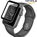 Josi Minea Apple Watch [42mm] 3D Curved Tempered Glass Screen Protector with Edge to Edge Coverage Anti-Scratch Ballistic LCD Cover Guard Premium HD Shield for Apple Watch Series 2 – 42mm [ Black ]