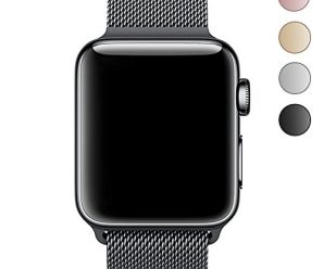 Walcase Fully Magnetic Closure Clasp Mesh Loop Milanese Stainless Steel iWatch Band for Apple Watch Series 2 Series 1 Sport and Edition – 42mm Black