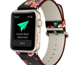 KOBWA Apple Watch Band 42mm, Premium Leather Strap Wrist Band Replacement with Stainless Metal Clasp for Apple Watch Series 1 Series 2 42mm All Models Black And Red Flowers