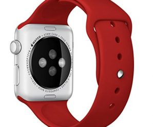 Sunfeiorts Silicone Bracelet Strap Band For Apple Watch 38mm 42mm (Red, 42mm)