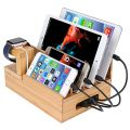 InkoTimes Bamboo Charging Station Dock Organizer for Apple Watch, iPhone, iPad, Universal Cell Phones and Tablets, Compatible with Anker, RAVPower, PowerAdd, 4/5/6-Port USB Charger