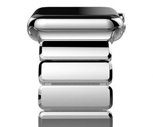 Apple Watch Band, Oittm 42mm Stainless Steel Replacement Strap Link Bracelet Metal iWatch Band with Double Button Folding Clasp for Apple Watch 42mm All Models (Bright Silver)