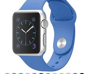 Icesnail Silicone Soft Replacement Bands for 38mm / 42mm All Apple Watch Models (3 Pieces Band Included 2 Lengths for Apple Watch Series 1 2 Sport & Edition 2016) 38mm Ocean Blue