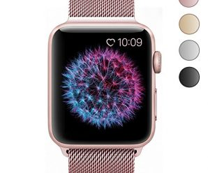 BRG Stainless Steel Mesh Milanese Loop with Adjustable Magnetic Closure Replacement iWatch Band for Apple Watch Series 2 Series 1 Nike+ Sport and Edition 38mm Rose Gold
