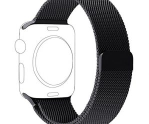 OROBAY Replacement Band for Apple Watch 42mm, Stainless Steel Mesh Loop Strap with Strong Magnetic Closure Clasp for Apple iWatch Sport & Edition (42mm Black)