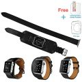 3 in 1 iWatch Leather Cuff Band,Eoso [Bracelet/Single/Double] Leather Loop Band for Apple Watch,Sport,Edition Models(Cuff Black 2017,38mm)