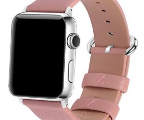 Apple Watch Bands 38mm, Fullmosa Yan Series Lichi Calf Leather Replacement Band/Strap with Stainless Steel Clasp for Apple iWatch Series 1 & 2 Sport and Edition Versions 2015 2016, Pink