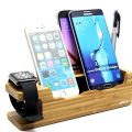 Bamboo Charging Station, Apple Watch Stand Smartphone Holder & Apple Pencil Holder, Desktop Docking Charger Station, Multi-Device Organizer for Apple iWatch iPhone 7 4.7″, 7 5.5″ Plus Samsung