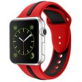 Soft Silicone Watch Band for Apple iWatch Sports/Editions Series 2/Series 1 Sport Style Replacement Watchband Strap Stripe Contrast Color Wristbands (Black/Red, 38mm)
