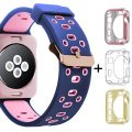 Oitom 38mm Soft Breathable Silicone Replacement Wristband Straps with Plated TPU Protective Case for Apple Watch Nike+,Series 1,Series 2,Sport,Apple Watch Edition M/L Size (Blue/Pink 38mm)