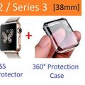 Apple Watch Case Series 2 and Series 3 38mm, Ezone Tempered Glass Screen Protector for Apple Watch Series 2 / Series 3 and Ultra-thin Clear HD Case