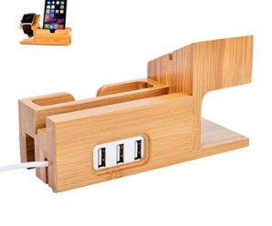 Watch Stand for Apple   TenSteed Bamboo Wood Charging Stand Bracket Docking Station Cradle Holder and Business Card Slot with 3 Ports USB HUB for iPhone and iWatch 38mm 42mm Series 1 Series 2