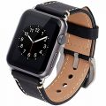 Apple Watch Band, Apple Watch Band 42mm Strap Vintage Genuine Leather Replacement Watchbands for Apple Watch Series 2 Sport Edition(Dark Black 42mm)
