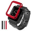 Simpeak Apple Watch Case with Band, [3 Packs Cover] Flexible Protective Case Cover with One Black Strap Bands for 42mm Apple Watch Series 1/2/3, Sport, Edition, Black/Grey/Red