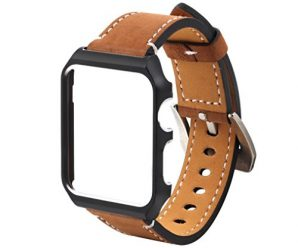 For IWatch Apple Watch Leather Wrist Watch Strap With Metal Protective Case by Sunfei (42MM, Brown)
