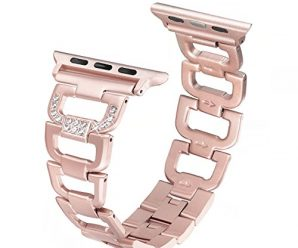 Apple Watch Band 42mm Secbolt Stainless Steel Bling Diamond Rhinestone Metal Replacement Wristband Strap for Apple iWatch Nike+, Series 3, Series 2, Series 1, Sport, Edition, Rose Gold