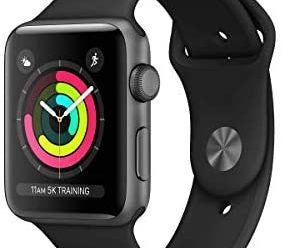 Apple Watch Series 3 (GPS, 42MM) – Space Gray Aluminum Case with Black Sport Band (Renewed)