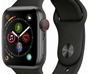 Apple Watch Series 4 (GPS + Cellular, 44MM) – Space Gray Aluminum Case with Black Sport Band (Renewed)