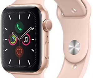 Apple Watch Series 5 (GPS, 44mm) – Gold Aluminum Case with Pink Sport Band