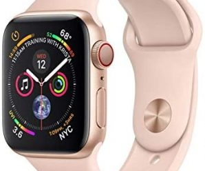 Apple Watch Series 4 (GPS + Cellular, 40MM) – Gold Aluminum Case with Pink Sand Sport Band (Renewed)