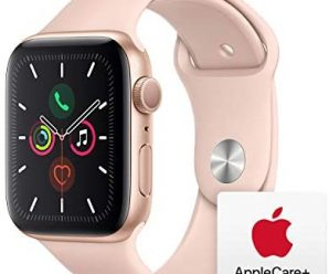 Apple Watch Series 5 (GPS, 44mm) – Gold Aluminum Case with Pink Sport Band with AppleCare+ Bundle