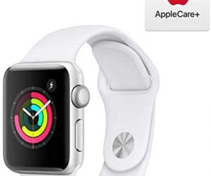 Apple Watch Series 3 (GPS, 38mm) – Silver Aluminum Case with White Sport Band with AppleCare+ Bundle
