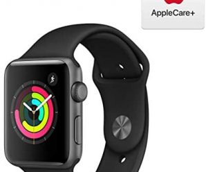 Apple Watch Series 3 (GPS, 42mm) – Space Gray Aluminum Case with Black Sport Band with AppleCare+ Bundle