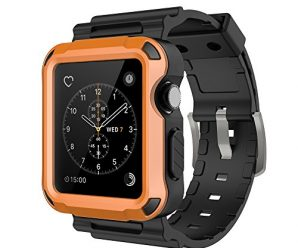 Simpeak Orange Rugged Protective Case with Black Strap Bands for Apple Watch 42mm Series 1 Series 2