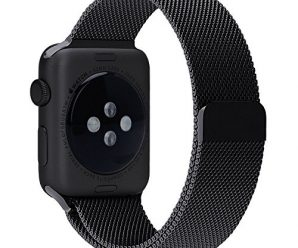 Apple Watch Band, Milanese Loop Stainless Steel Replacement Iwatch Band For Apple Watch Band 42mm Series 1&2 (Black)
