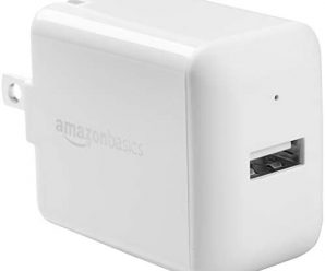 AmazonBasics One-Port USB Wall Charger for Phone, iPad, and Tablet, 12W – White