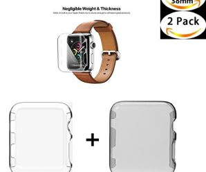 Apple Watch 1 Case , Sfmn 2- Pack iwatch 1 38mm Case Ultra-Slim Cystal Clear Full Coverage All-around PC Hard Cover Case for Apple Watch Series 1 38MM (Clear+Gray)( 2Pack-38MM)