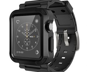 Simpeak Black Rugged Protective Case with Black Strap Bands for Apple Watch 42mm Series 1 Series 2