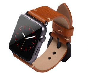 Apple Watch Band ,Vintage Vegetable Tanned Leather Watch Band For I Watch 42mm With Black Adaptor Light Brown