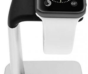 Macally Stand for iWatch – The Perfect Nightstand Charging Dock Station – Compatible with Smartwatch Series 6, Series 5, Series 4, Series 3, Series 2, Series 1 (44mm, 42mm, 40mm, 38mm) (Silver)